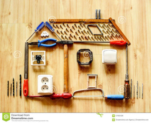home improvement concept house made up various tools equipment improving house wooden floor background 57655426